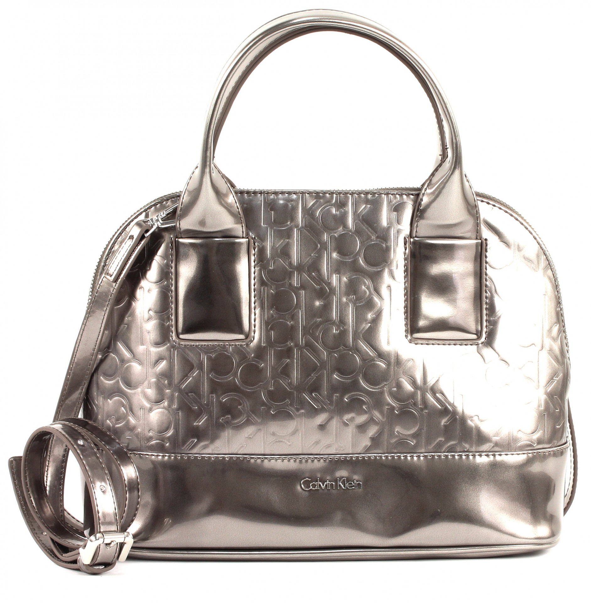 calvin klein maggie small satchel tasche handtasche umh ngetasche damen silber ebay. Black Bedroom Furniture Sets. Home Design Ideas