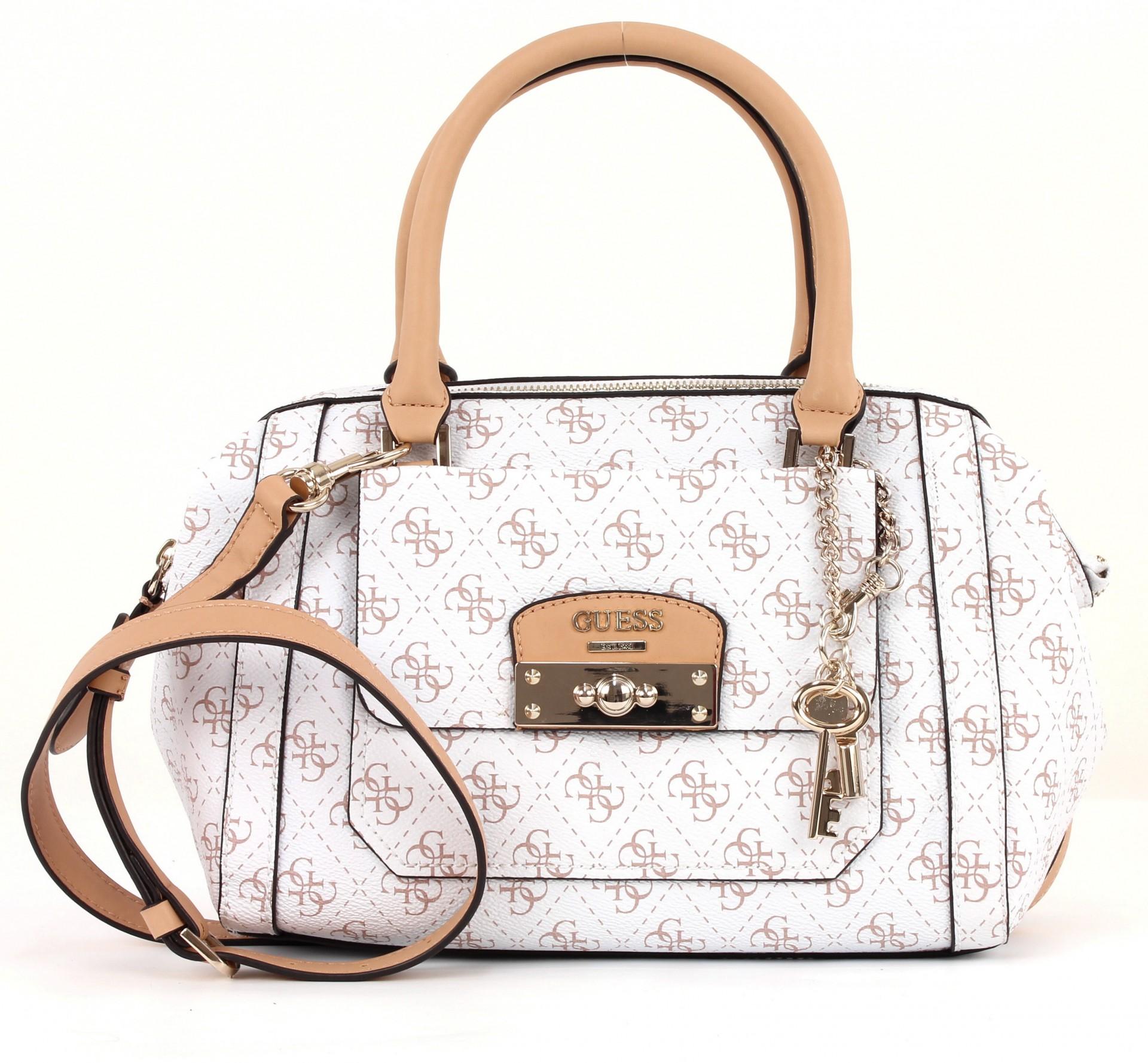 guess insider frame satchel tasche handtasche umh ngetasche damen weiss white ebay. Black Bedroom Furniture Sets. Home Design Ideas