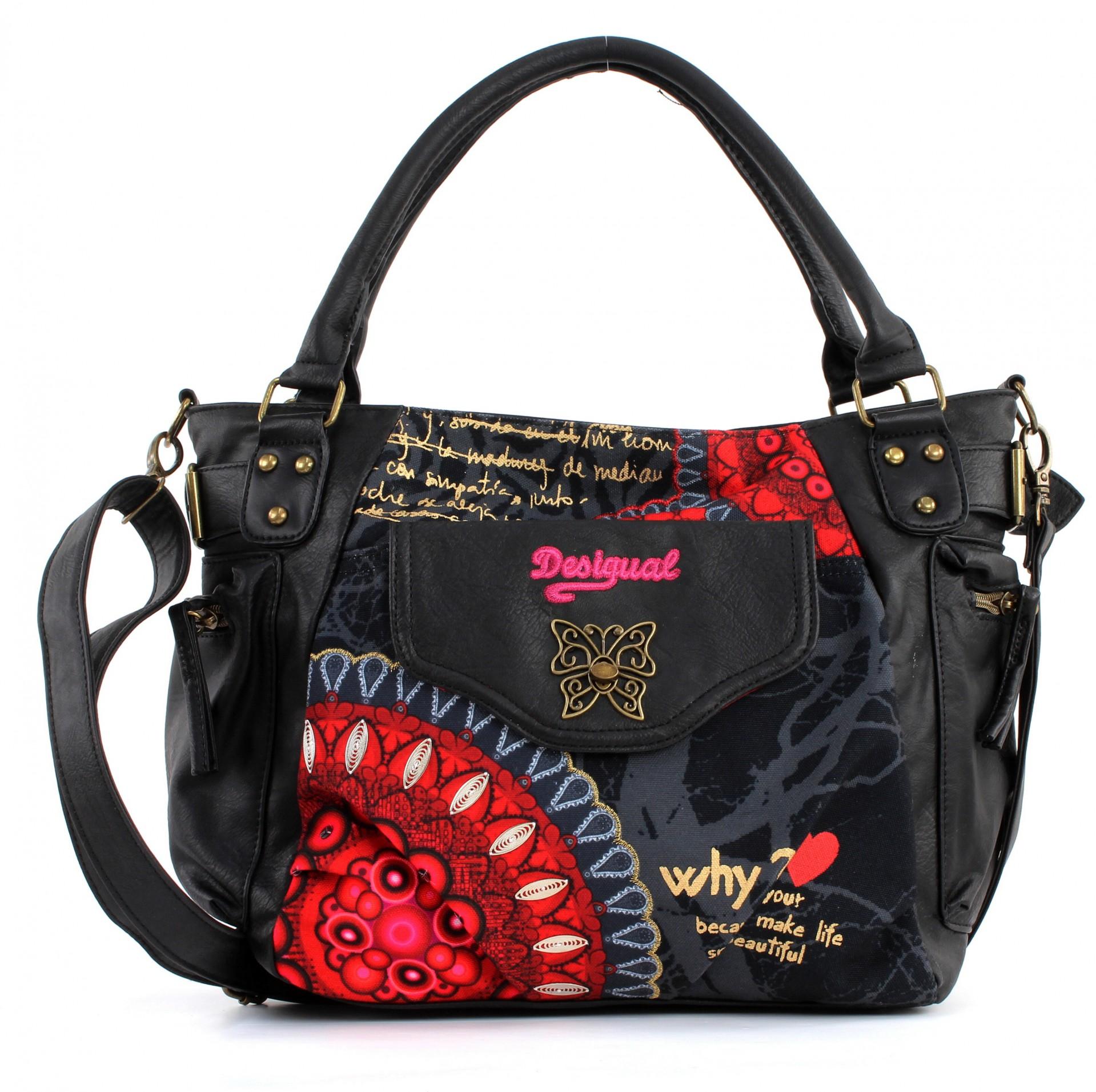 desigual bols mcbee bolas rojas tasche schultertasche handtasche schwarz neu ebay. Black Bedroom Furniture Sets. Home Design Ideas