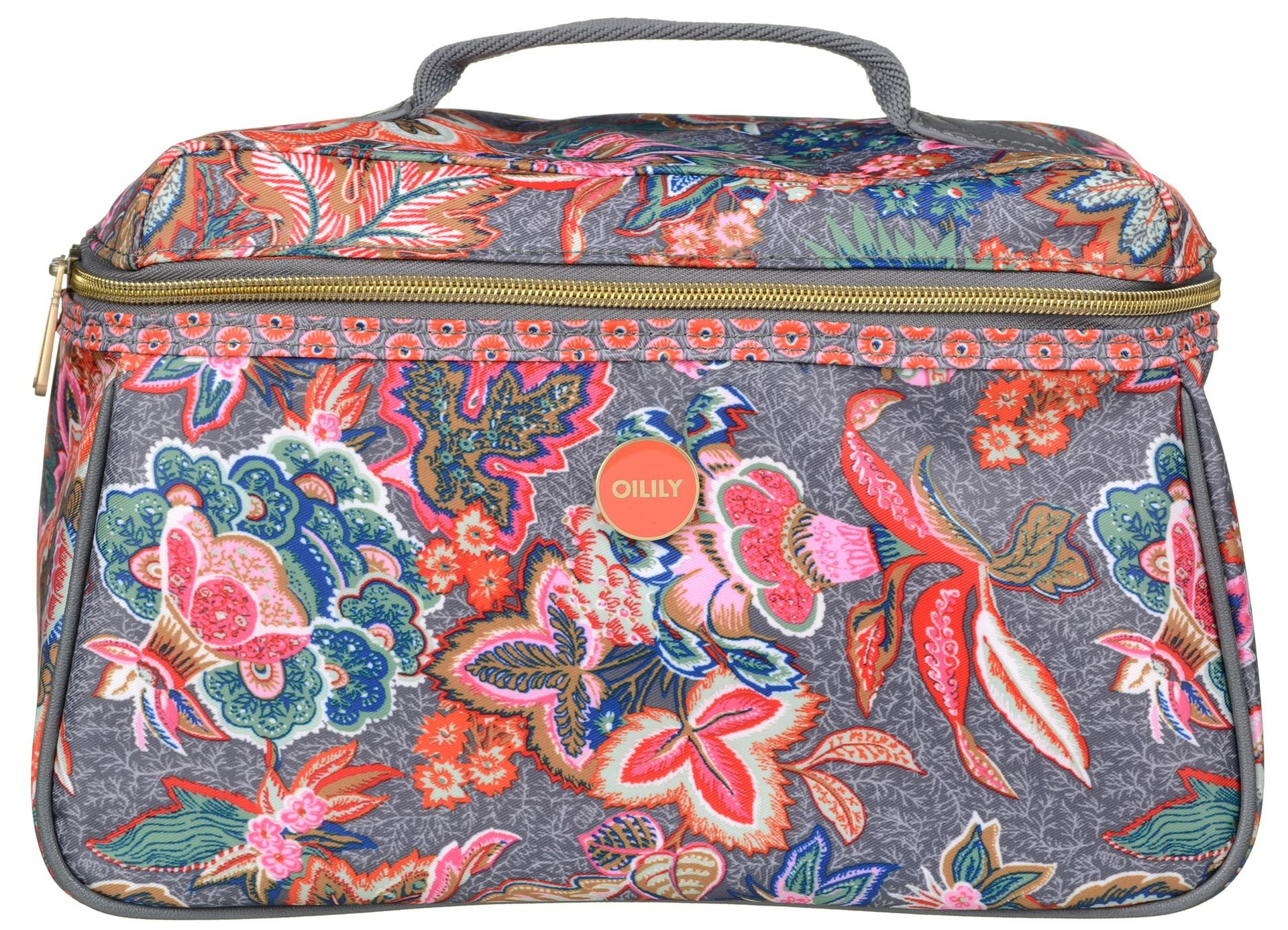 oilily jatin flowers l beauty case cosmetic bag toilet ladies grey dove ebay. Black Bedroom Furniture Sets. Home Design Ideas