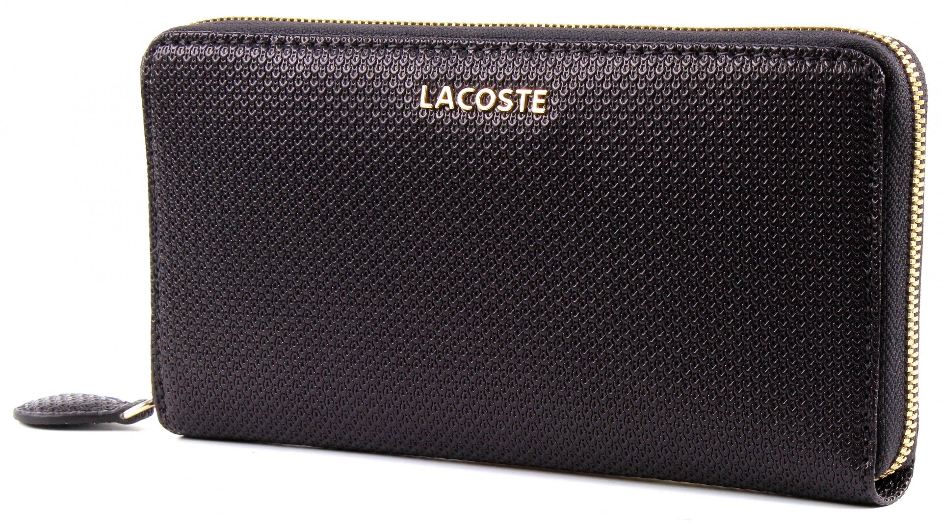 lacoste institutionnelle large zip wallet geldb rse portemonnaie damen braun ebay. Black Bedroom Furniture Sets. Home Design Ideas
