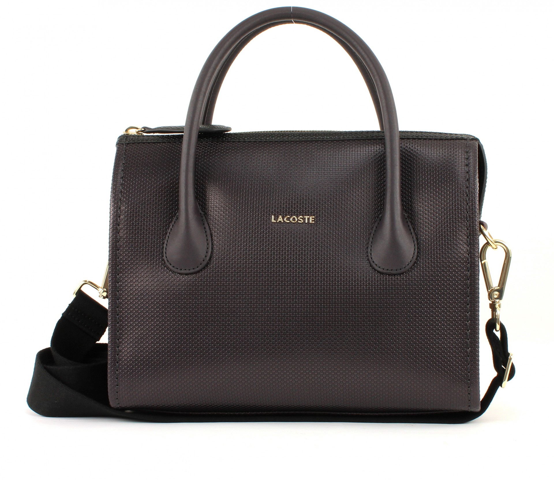 lacoste institutionnelle small boston bag tasche umh ngetasche leder damen brau ebay. Black Bedroom Furniture Sets. Home Design Ideas